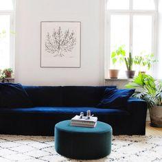 Luca Petrol 4 seat velvet sofa