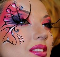 Pink fairy theatrical make up