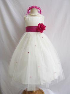 FLOWER GIRL DRESS WEDDING IVORY PAGEANT EASTER DRESS