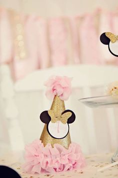 Pink and Gold Minnie Mouse Birthday Girl Party Hat, Mini Hat, Headband Hat Minnie Mouse first birthday by SweetSisterCelebrate on Etsy