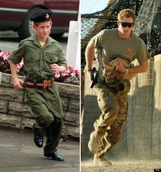 prince harry now and then- He's such a cure ginger in camo!