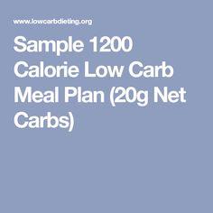 Sample 1200 Calorie Low Carb Meal Plan (20g Net Carbs)
