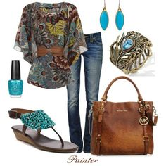 My Everyday Look: Colorful kimono style top, bold jewelry, strappy heels, perfectly polished toes in a bright hue, jeans, and a designer handbag.