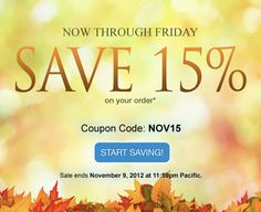 *LIMITED TIME OFFER. NOV15 coupon and offer expires November 9, 2012 at 11:59 p.m. Pacific. NOV15 coupon is good for 20% off new products and services. No minimum purchase required. All renewals on products and services after the initial discounted period will be charged at the then current standard list price for the selected period. Coupon is not valid with certain TLDs, renewals, transfers, custom website design, other coupons, or special pricing.