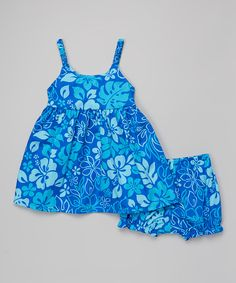 Look at this Blue Hibiscus Babydoll Dress & Bloomers - Toddler & Girls on #zulily today!