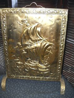 brass fireplace screen.