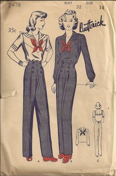 Butterick 2478 Sailor suit sewing pattern // Tuppence Ha'penny: Sailor Style Evolution Part 4: Wartime Patriotism