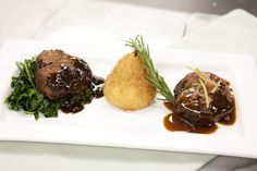 """Pennsylvania Trio: warm roasted Brussels sprouts, Chester county wild mushroom cobbler and duck """"scrabble"""" with maple syrup  #catering #entree #food"""