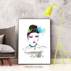 Modern Study Girl Portrait, Study Figure Modern Art, Watercolor Painting Fashion Illustration, Printable Wall Art, Gift Ideas Decor for Girl Wall Art Prints, Fine Art Prints, Watercolor Paintings, Original Paintings, Gloss Matte, Gifts For An Artist, Fashion Painting, Printable Wall Art, Fine Art Paper
