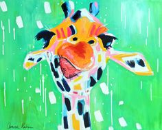 Portrait of a giraffe against a bright green background. Gino, 2015 Wall Art by Amira Rahim from Great BIG Canvas. Add this quirky and fun canvas print to your wall today available at Great BIG Canvas! Abstract Canvas, Abstract Print, Canvas Art, Canvas Prints, Big Canvas, Canvas Size, Framed Prints, Framed Art, Giraffe Painting