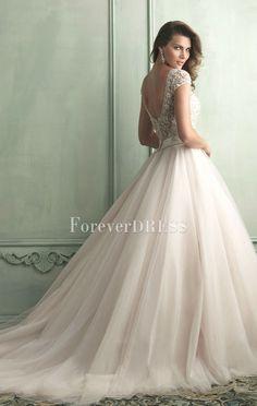 Elegant Ivory Organza ball gown delicate beaded wedding dress with short sleeves esta es la mejor opción