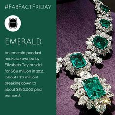 Emeralds are a girl's other best friend! Elizabeth Taylor knew that - imagine paying million for a necklace? But isn't it beautiful? Emerald Pendant, Elizabeth Taylor, Emeralds, Pendant Necklace, Jewels, Jewellery, Gemstones, Bracelets, Beautiful
