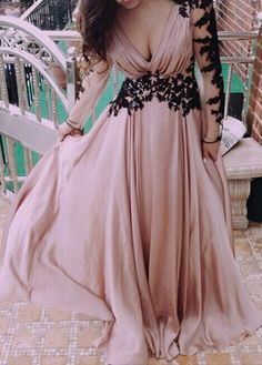 Long Sleeve V Neck Lace Patchwork Maxi Dress