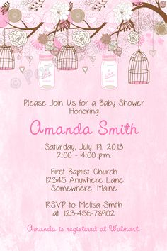 Vintage pink baby shower invitations