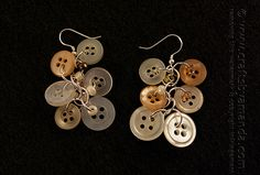 Dangling Antique Button Earrings by Amanda Formaro of Crafts by Amanda - great for a wedding!
