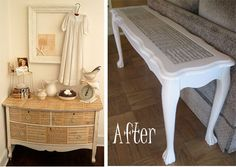 I am in LOVE with the idea of using old sheet music to spice up an old plain piece of furniture!!