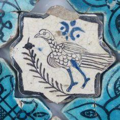 Turkish Seljuk Naturalistic Animal Design Tile From Konya Karatay Medrese(School). The Turkish Seljuk tiles now displayed at the Karatay Medrese in Konya originally decorated the walls of the century Kubadabad Palace on the shores of Lake Beyşehir. Antique Tiles, Antique Pottery, Pottery Art, Turkish Tiles, Turkish Art, Tile Art, Mosaic Art, Mosaics, Mosaic Tiles
