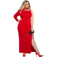 Red One Sleeve Plus Size Maxi Dress Sale