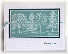lovely handmade thank-you card ... tree stamp from Northwoods Stamps ... like the cool look of white embossing on Baja Breeze cardstock ...