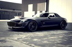 Matte Black Mercedes SLS AMG Supercharged GT. www.goachi.com