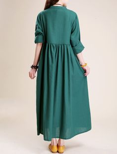 Simple atmospheric linen Maxi dress women tunic Long by MaLieb