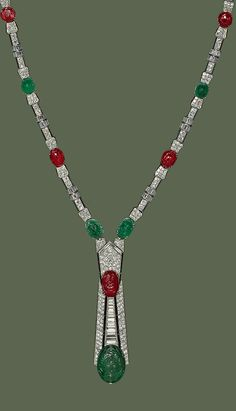 Joseph Chaumet - An Art Deco platinum, emerald, diamond, ruby and emerald sautoir, Paris, 1928-1929. The sautoir transforms into two bracelets. #Chaumet #ArtDeco