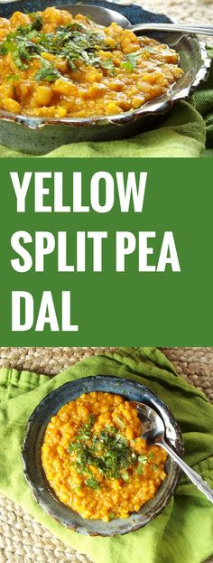 "Yellow Split Pea Dal - INGREDIENTS 2 tbsp. olive oil 1 large onion, diced 3 garlic cloves, minced 1 tsp. fresh grated ginger 3 cups vegetable broth 1½ cups split peas ½ tbsp. turmeric ½ tbsp. ground cumin 4 cloves 2"" cinnamon stick 2 tbsp. tomato paste 1 tbsp. Asian chili paste (or to taste) 1 tsp. sugar salt and pepper to taste ¼ cup finely chopped fresh cilantro"