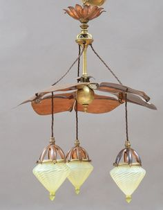 W A S Benson ceiling l& with three drop pendants opalescent vaseline glass shades & One of a pair of rare WAS Benson Metamorphic table lamps c.1900 ...