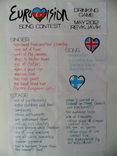 A Eurovision drinking game - thanks to Heli, Johanna and Siru