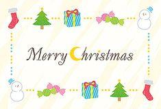 Christmasフレーム クリスマス 2016  無料 イラスト 赤い靴下・ツリー・プレゼントのクリスマスイラストで縁取られたカードです。「Merry Christmas」の飾り文字も素敵◎そのまま印刷して、すぐにカードが作成できます。