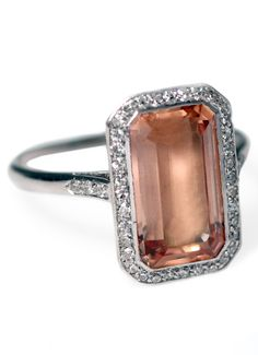 An Art Deco topaz and diamond ring, circa 1925.