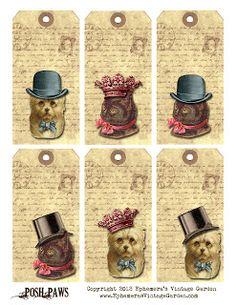 Ephemera's Vintage Garden: Free Printable: Posh Dog and Kitty Tags Free Printables,printables,Tags, Vintage Tags, Vintage Labels, Vintage Ephemera, Vintage Postcards, Free Printable Tags, Free Printables, Celtic Fonts, Pipe Cleaner Crafts, Retro Poster