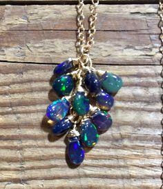 Black Opal Necklace, Opal Necklace, Black Ethiopian Opals, Welo Opal, Opal Cluster Necklace, Ethiopian Opal, Birthstone, Rocker Chic, Boho