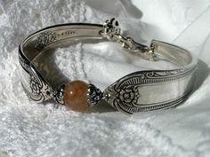 Cotillian and Carmel Stone Spoon Bracelet by Dizzyjdesigns on Etsy, $45.00