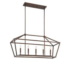 Geomertric Cage Linear Pendant in Rubbed Bronzr by Millennium Lighting 3245RBZ