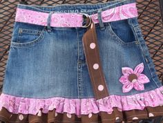 John Deere Upcycled Recycled Girls Denim Skirt offered by thekidzclothesline at etsy.com for $24.50