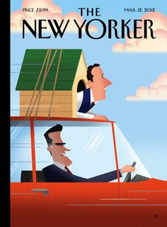Santorum gets the-dog-on-top-of-Romney's-car treatment on cover of The New Yorker