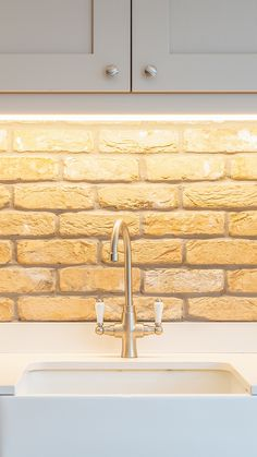 Painted Shaker Kitchen With Brick Splashback , Traditional Taps and sink Butler Sink, Real Kitchen, Shaker Kitchen, Splashback, Taps, Kitchen Design, Brick, Kitchens, Traditional