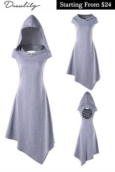 Hooded Criss Cross Cut Out Handkerchief Dress. Criss Cross handkerchief dress with hood. Trendy Dresses, Cute Dresses, Beautiful Dresses, Vintage Dresses, Casual Dresses, Event Dresses, Dress Outfits, Cool Outfits, Fashion Dresses