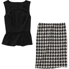 If youre gonna try a trend like the peplum why not do it affordably? Alexis Taylor Women's Peplum Top and Houndstooth Ponte Skirt at walmart.com