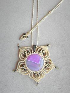 macrame necklace mandala necklace spiritual jewelry by QuetzArt