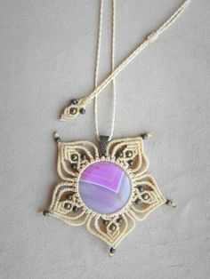macrame necklace mandala necklace spiritual jewelry от QuetzArt