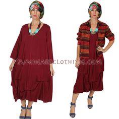 HEARTSTRING LAGENLOOK TUCK DRESS BOHO HIPPIE CHIC SML-6X #KleenHeartString #TuckDress #AnyOccasion