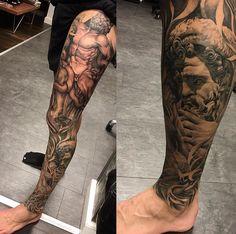 Greek Best Leg Tattoos, Lower Leg Tattoos, God Tattoos, Leg Tattoo Men, Full Sleeve Tattoos, Time Tattoos, Tattoo Sleeve Designs, Future Tattoos, Body Art Tattoos