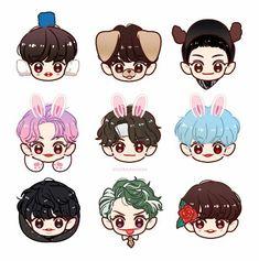 Baekhyun, Exo Kokobop, Exo Stickers, Tumblr Stickers, Anime Korea, Exo Anime, Exo Fan Art, Cute Chibi, Kpop Fanart