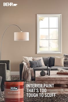 Your living room can be used for many things. Whatever you use it for, you need paint that's tough enough to withstand the wear and tear of daily life. Introducing BEHR ULTRA® SCUFF DEFENSE™ Interior Paint with advanced scuff-resistance. Protect your walls from scuffs in style with this stain-blocking paint and primer. Now available in 4 sheens. Featured color: Chateau PPU7-06. Click below to learn more.