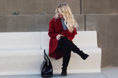 Red coat, over the knee boots, how to style over the knee boots,