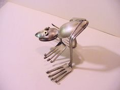 upcycled silverware sculpture Frog no 3 by HouseOfPhlegethon, $29.00