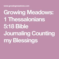 Growing Meadows: 1 Thessalonians 5:18 Bible Journaling Counting my Blessings