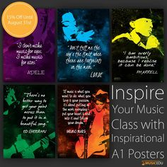 Inspire your students with the musicians they admire! MusicEDU A1 posters with quotes from Adelle, Lorde, Pharrell, Sheeran & Bruno.